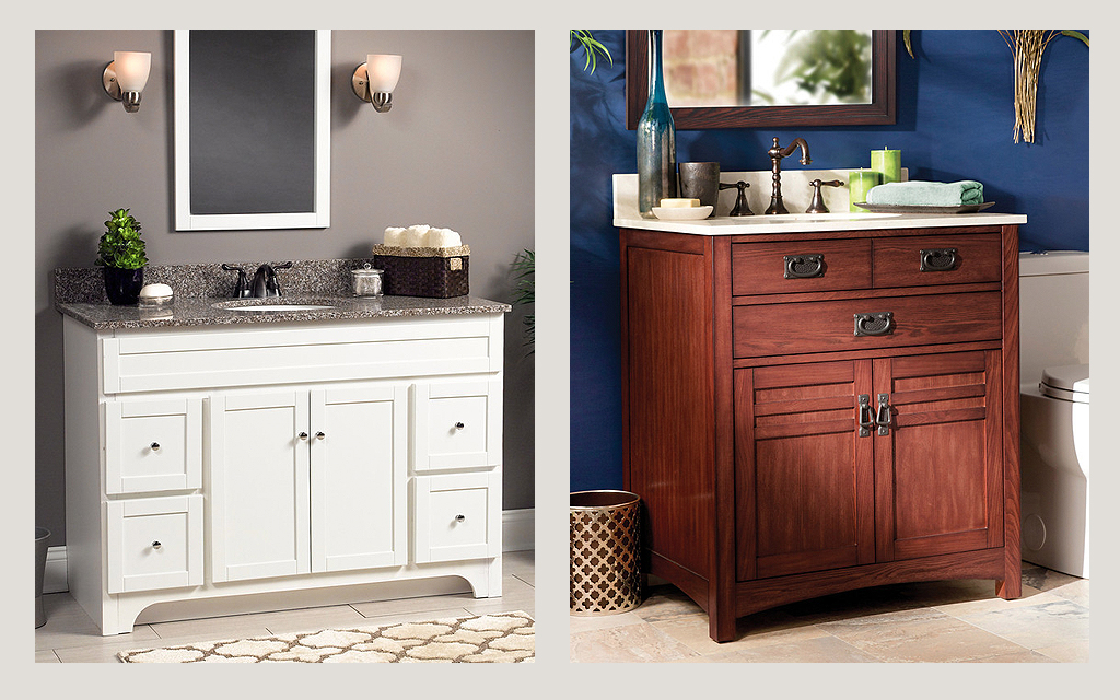 Wolf White and Brown Vanity Bathroom Cabinets